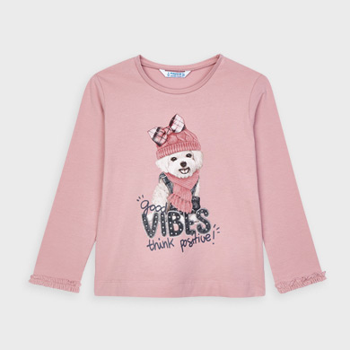 MAYORAL Girls T-Shirt 'Dog-Vibes' Pink 4064-80 NOW £7.50