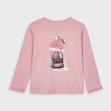MAYORAL Girls L/S dog print t-shirt. Pink. 4064-80
