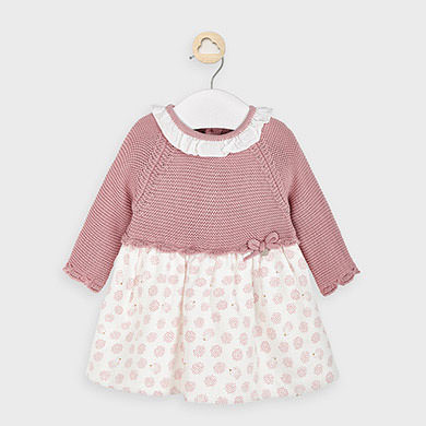 MAYORAL Girls Dress Knitted and Fabric Blossom 2852-76