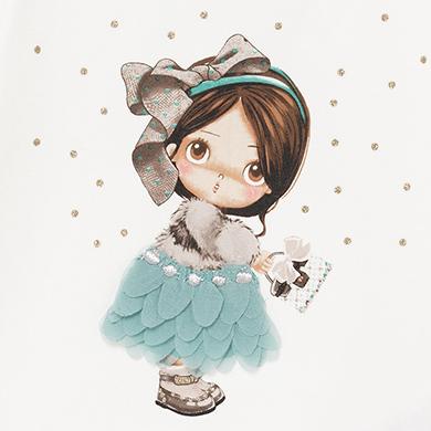 MAYORAL Baby Girls doll print Teal t-shirt 2054-049