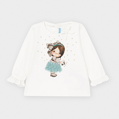 MAYORAL Baby Girls doll print Teal t-shirt 2054-049