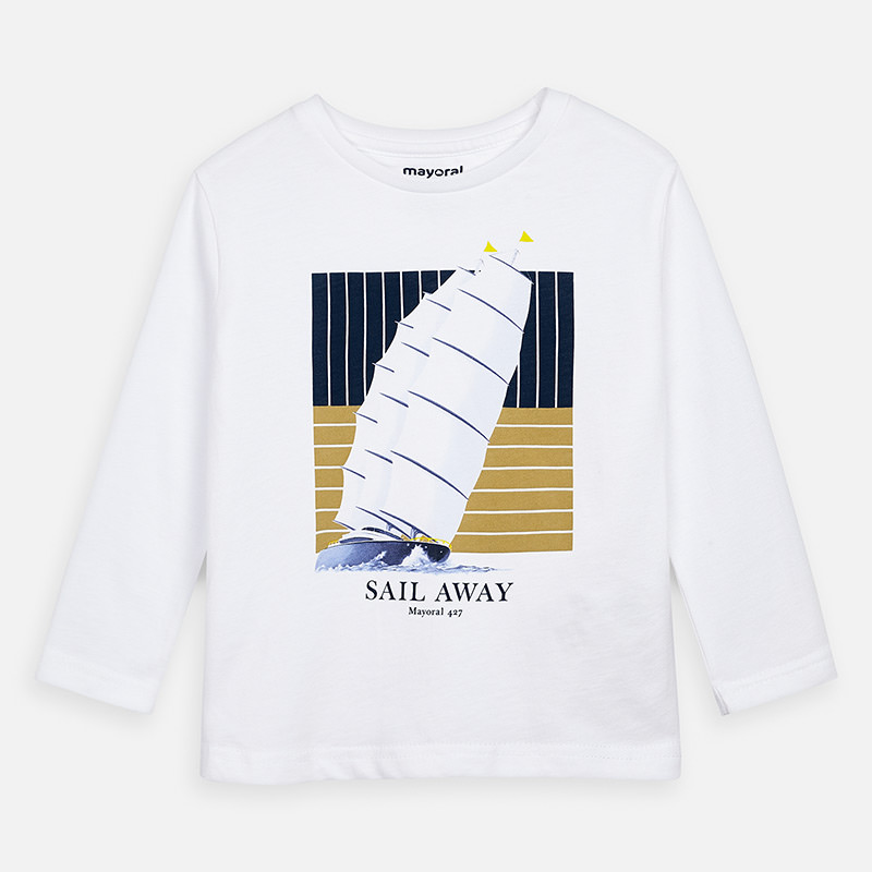 MAYORAL Boys T-Shirt L/S White Sail Away 3075-014. Before £12.20