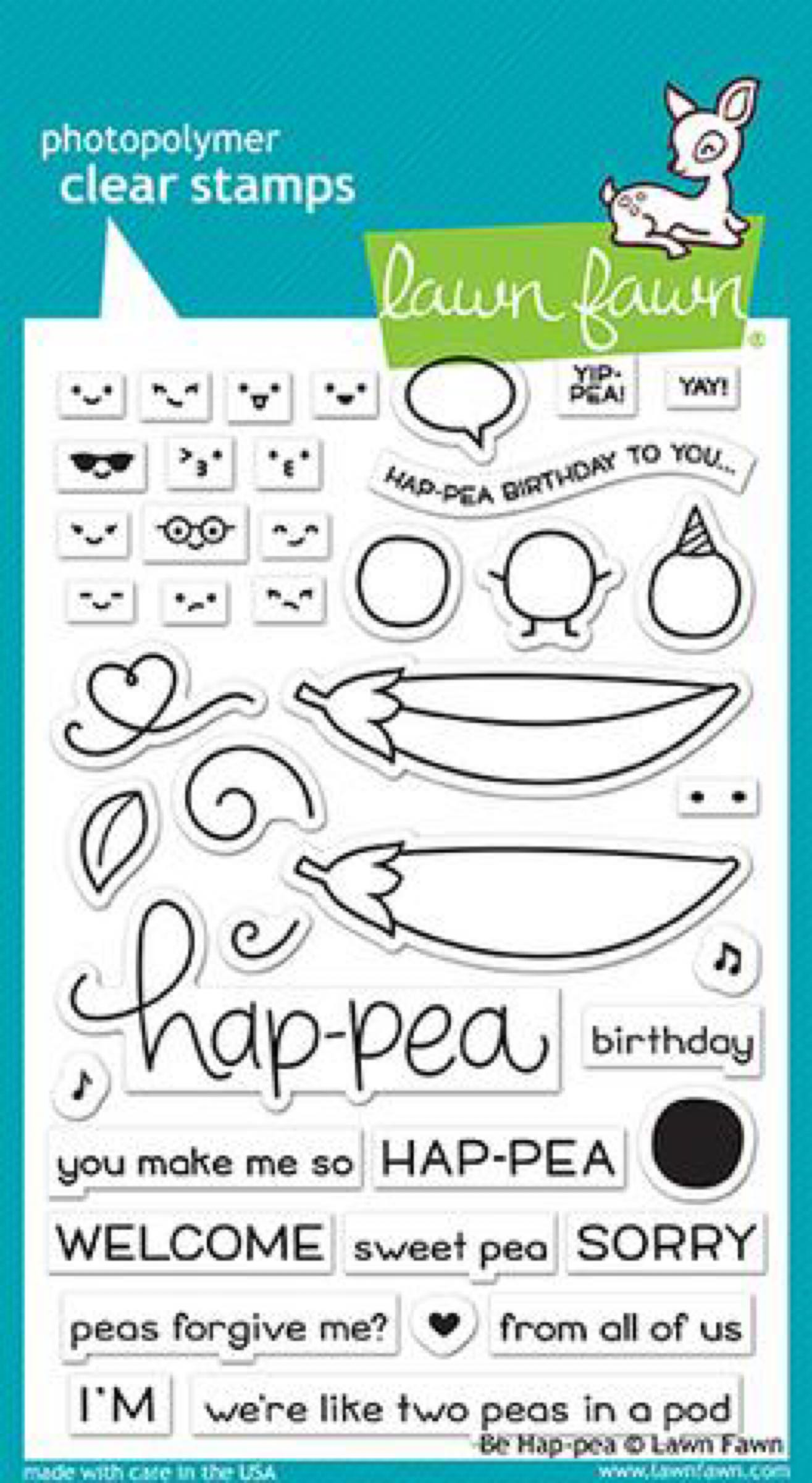 Lawn Fawn Clear Stamps / Klar Stempler - Be Hap-pea