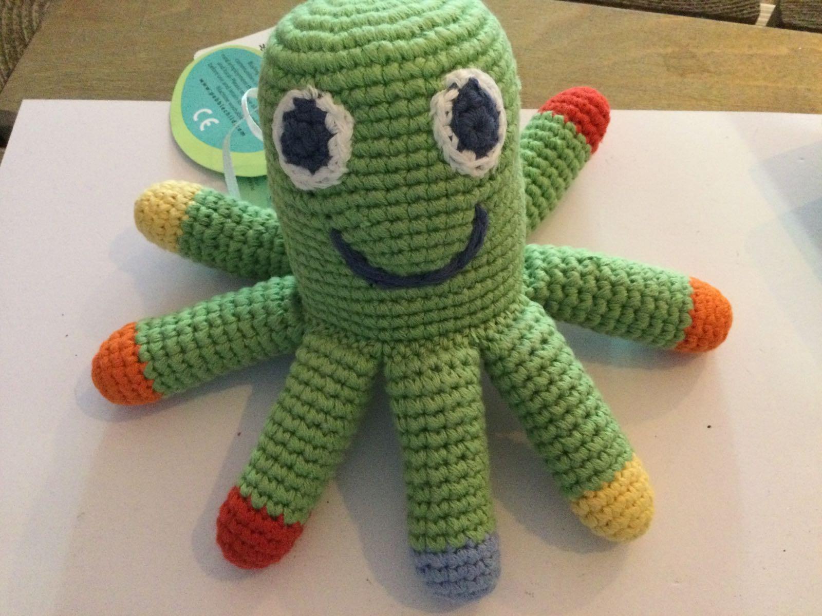 Pebble - Crochet Octopus Rattle - Apple green