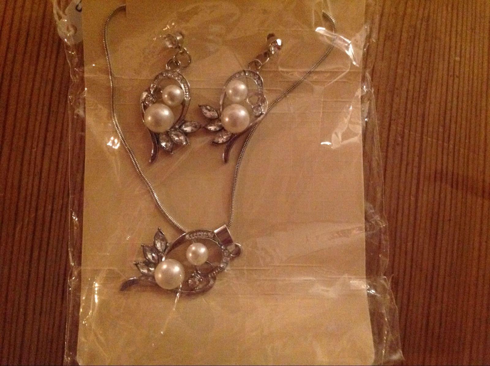 Halsband och örhängen set (second hand, vintage, retro)