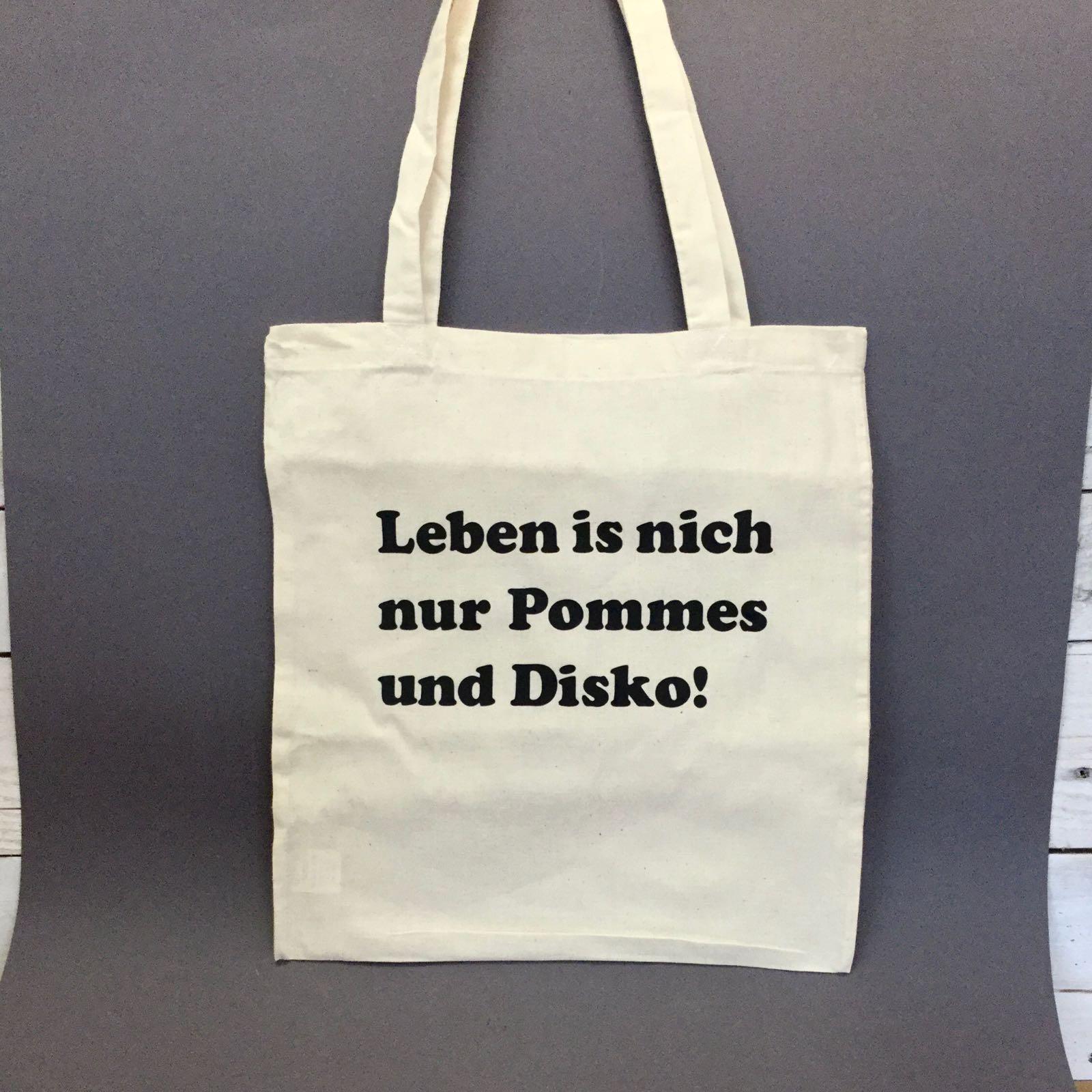 """Jutebeutel """"Pommes und Disko"""" von liebedeinestadt.net"""