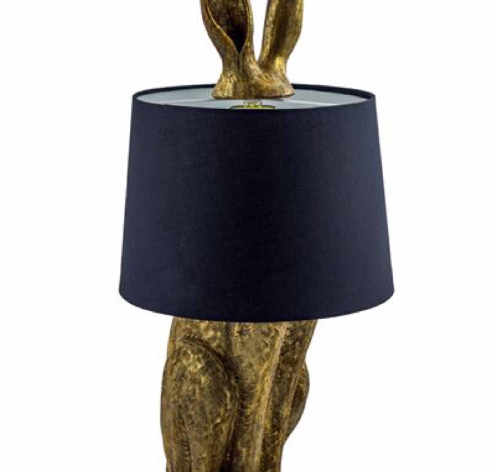 Antique Gold Rabbit lamp with Black shade TL77 74cm x 32 cm