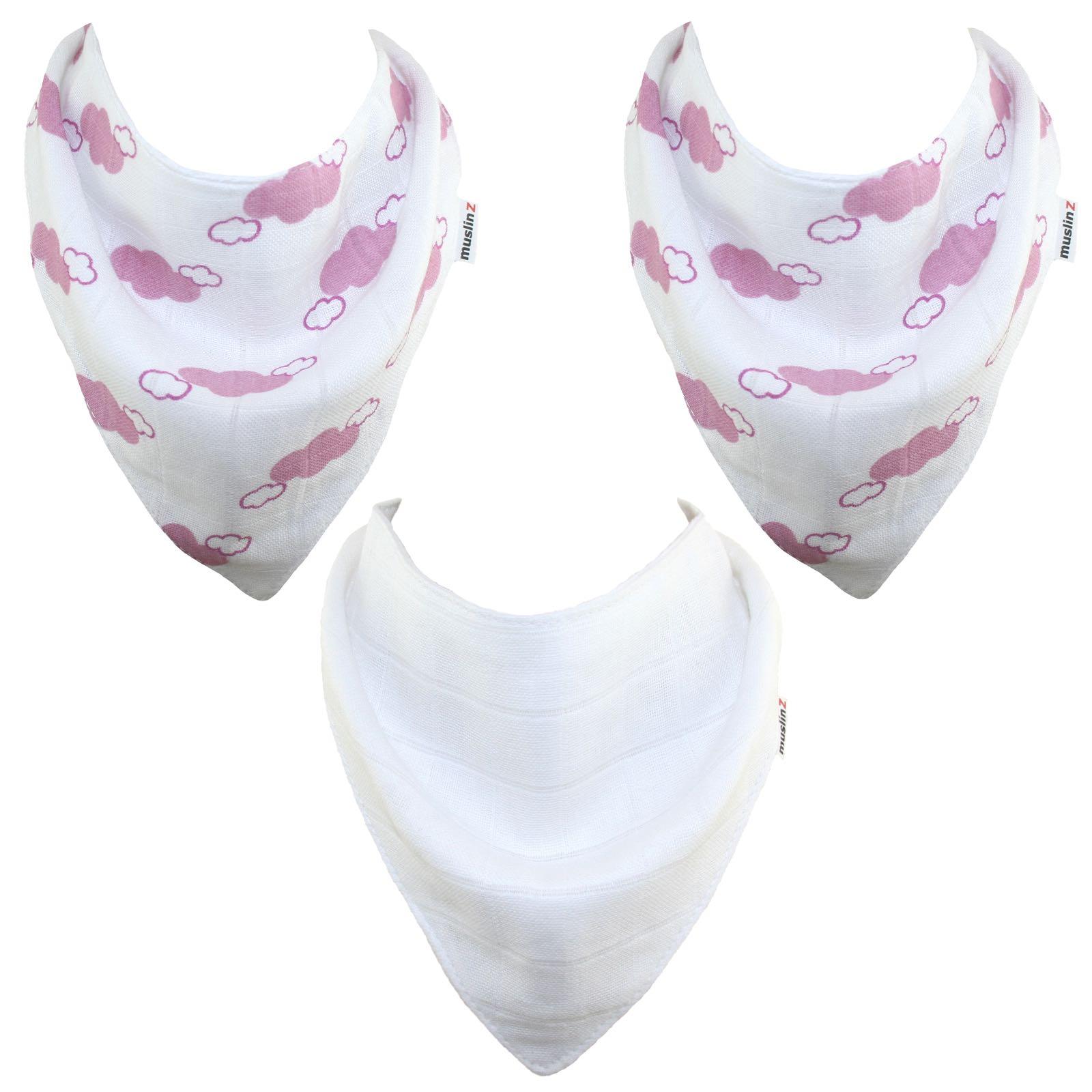 MuslinZ - 3 Pack bamboo/organic cotton Dribble Bibs - Pink clound