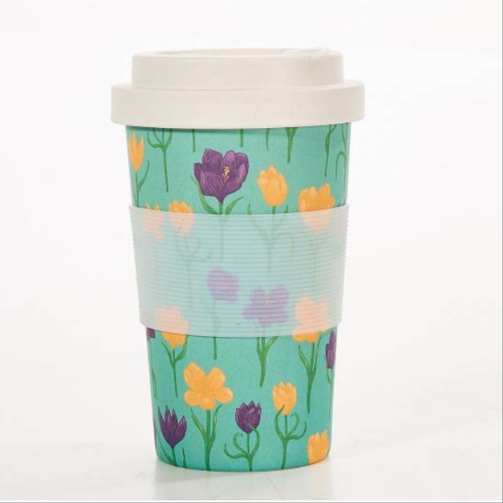 Crocus Flowers Reusable Bamboo Cup