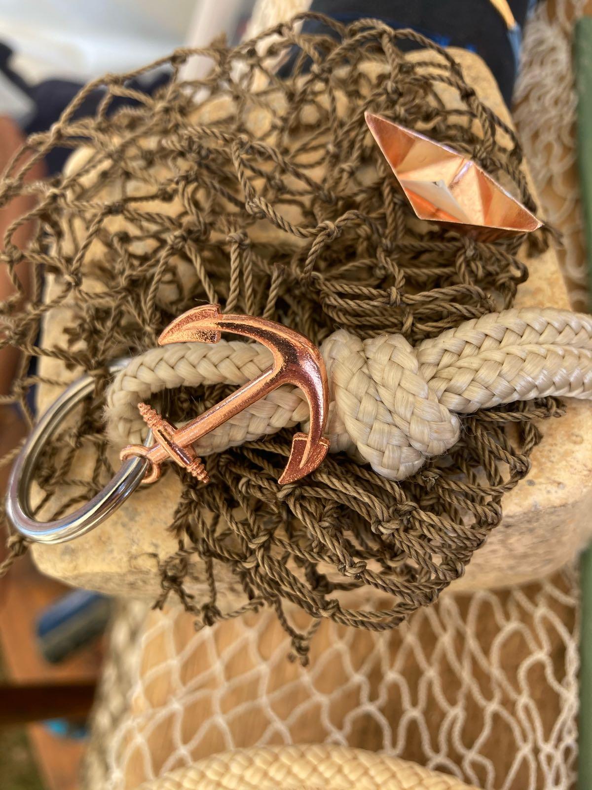 Fischereidesign - Schlüsselanhänger Natur, Anker rosé