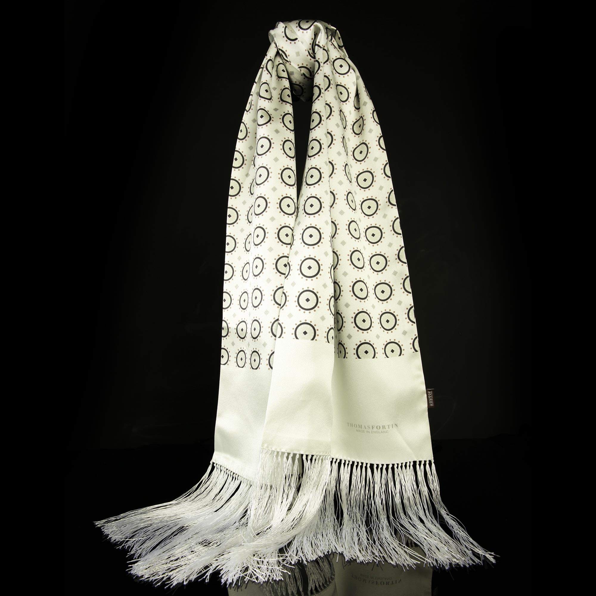 White Silk Satin Fringed Evening Scarf