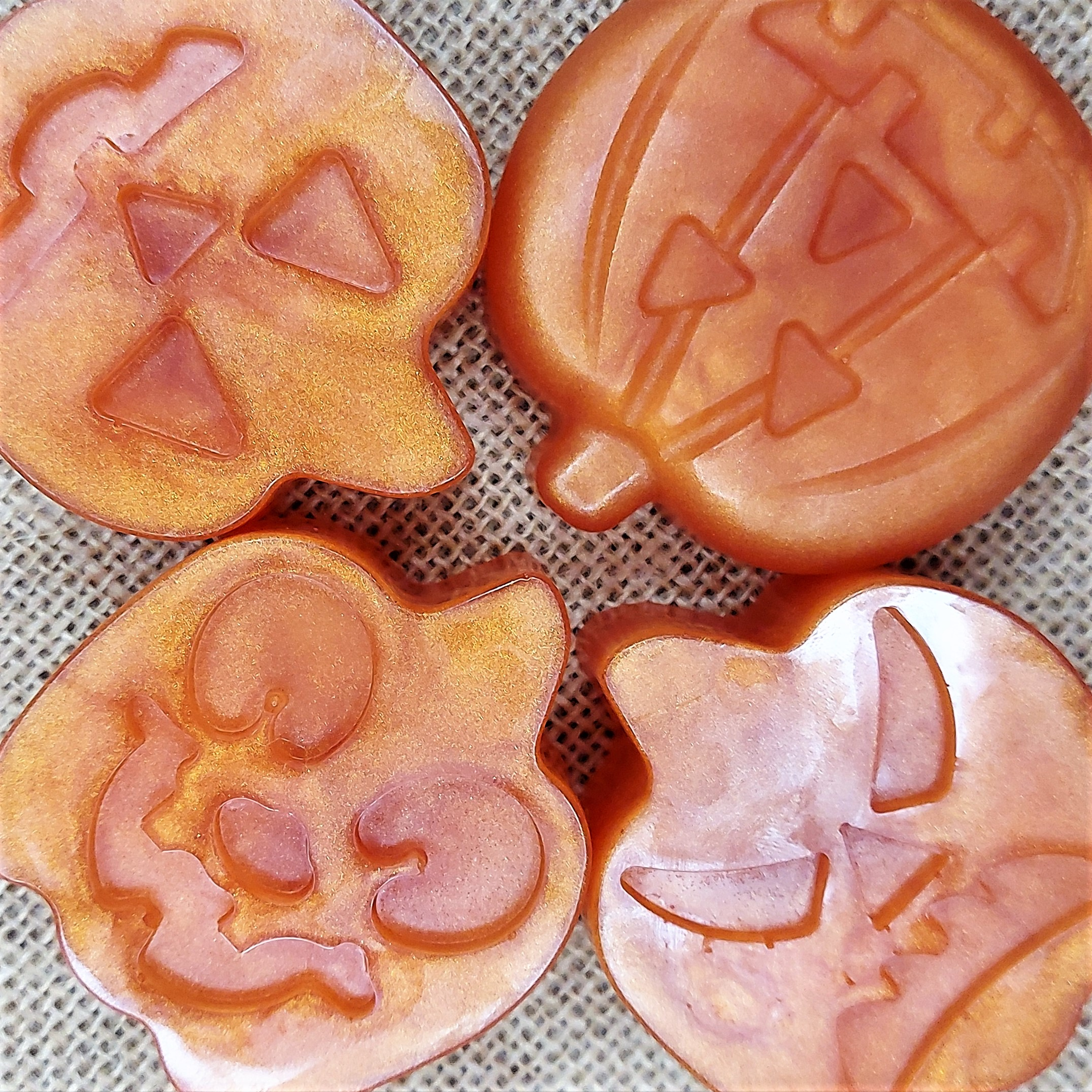 Four Halloween Pumpkin Soaps