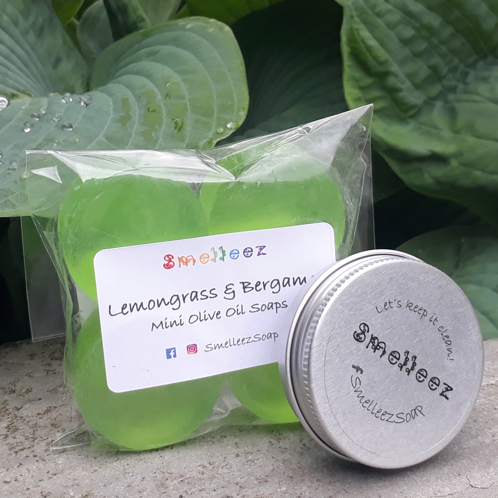 Mini Olive Oil Soap Bars & Pocket Size Tin (Lemongrass & Bergamot)