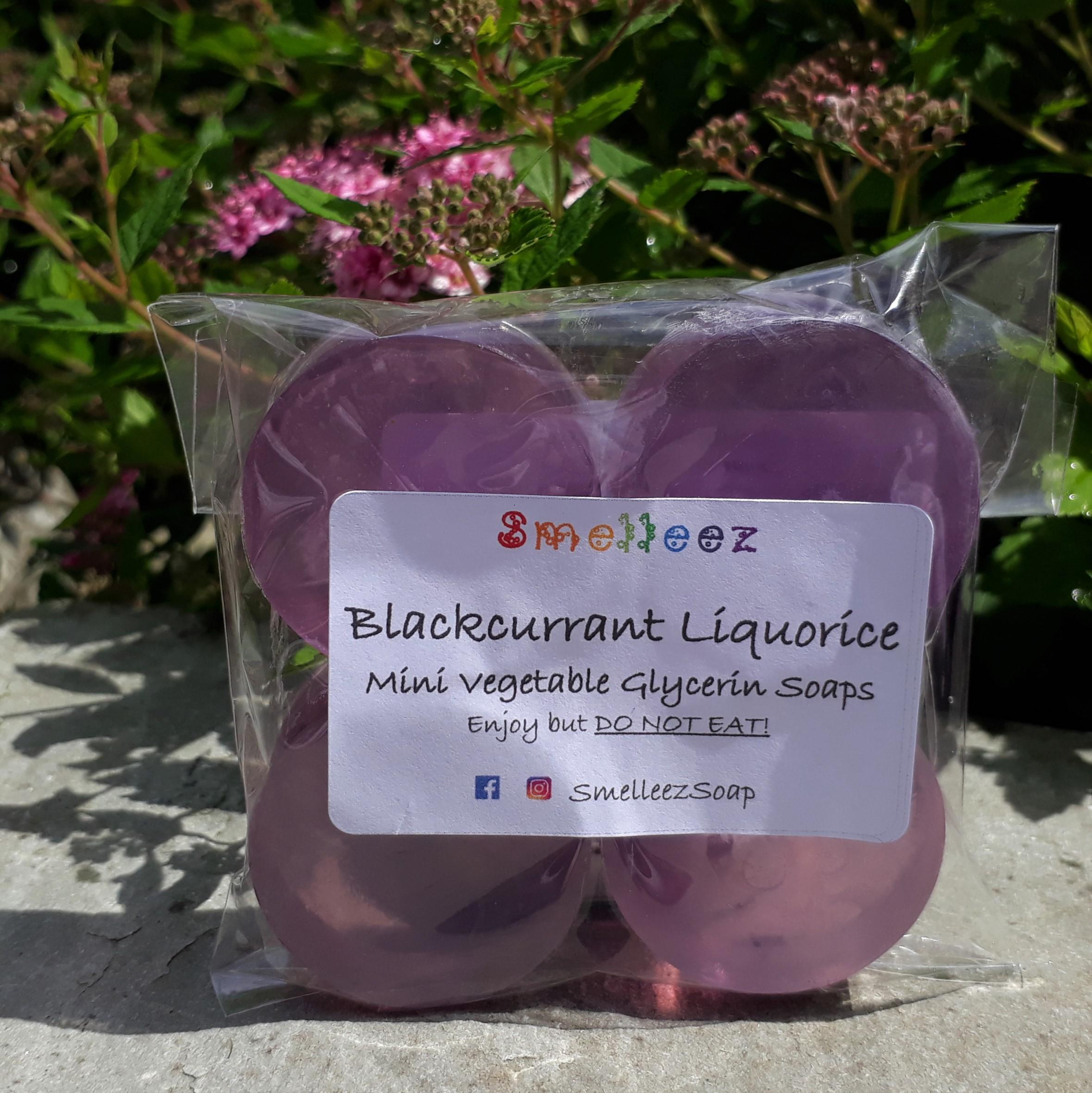 Mini Vegetable Glycerin Soap Bars & Pocket Size Tin (Blackcurrant Liquorice)