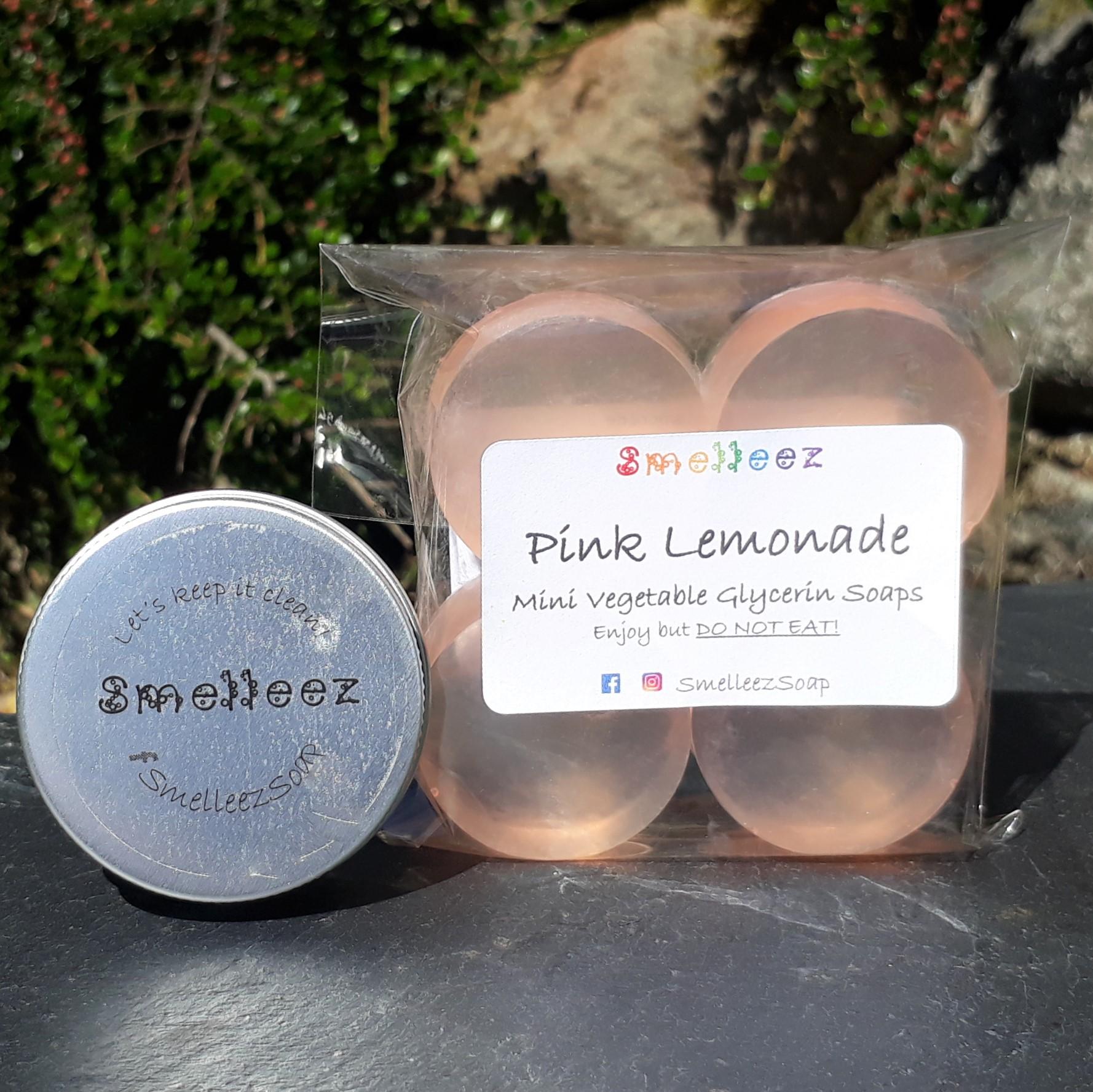 Mini Vegetable Glycerin Soap Bars & Pocket Size Tin (Pink Lemonade)