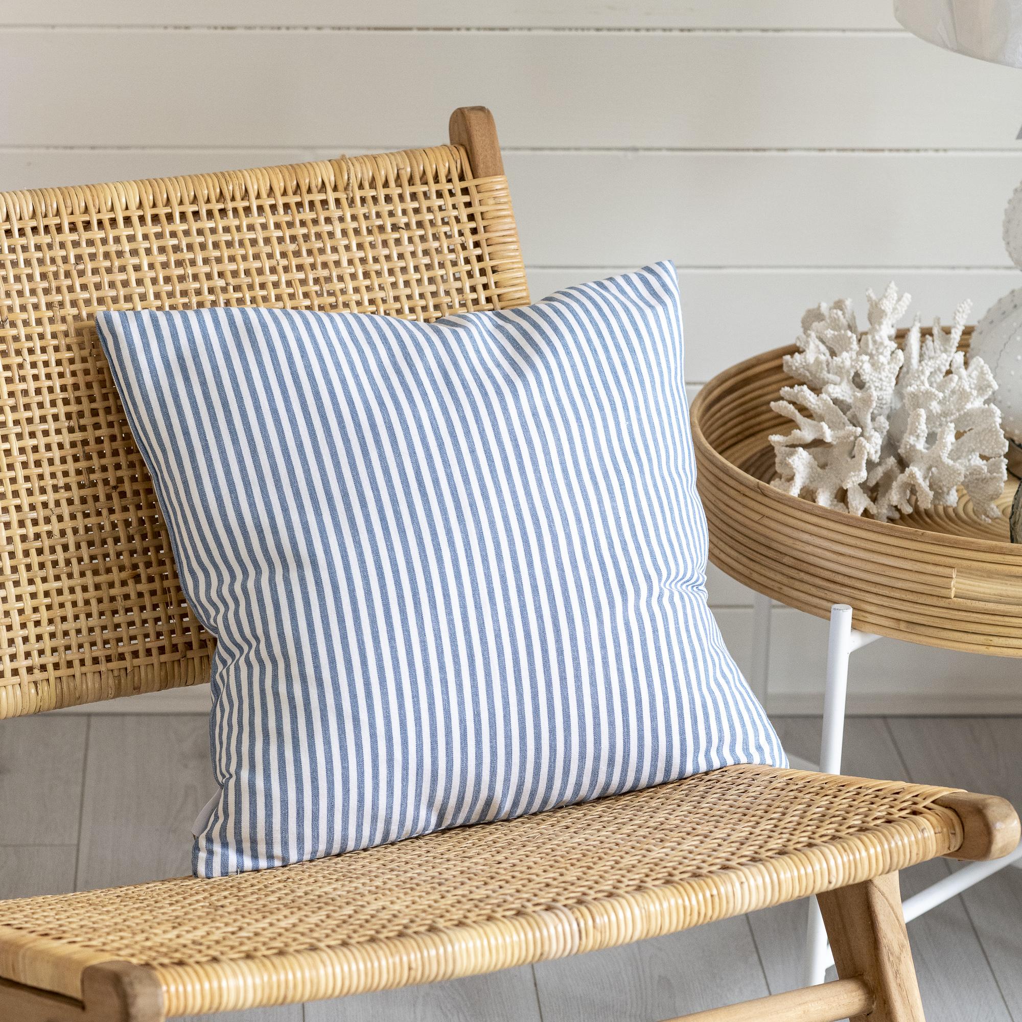 Blue Narrow Stripe Cushion