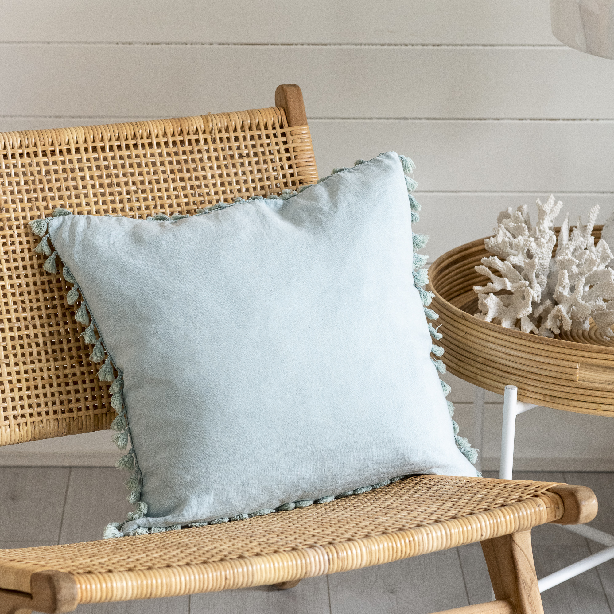 Aqua Tassel Cushion