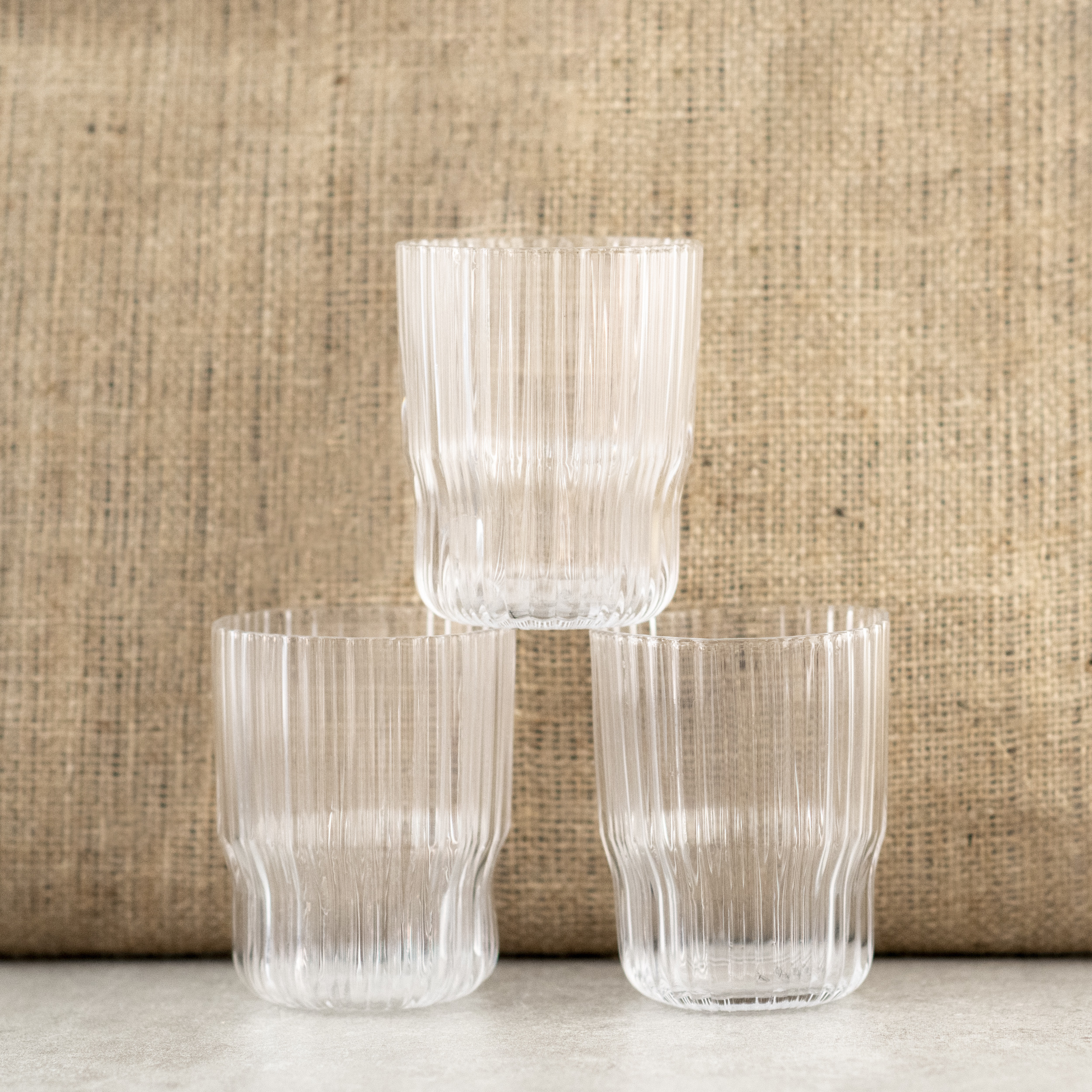Clear, Ribbed Drinking Glass