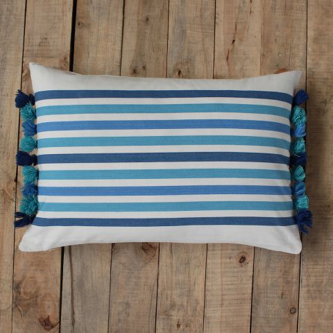 Beach Blue Tassel Stripe Cushion