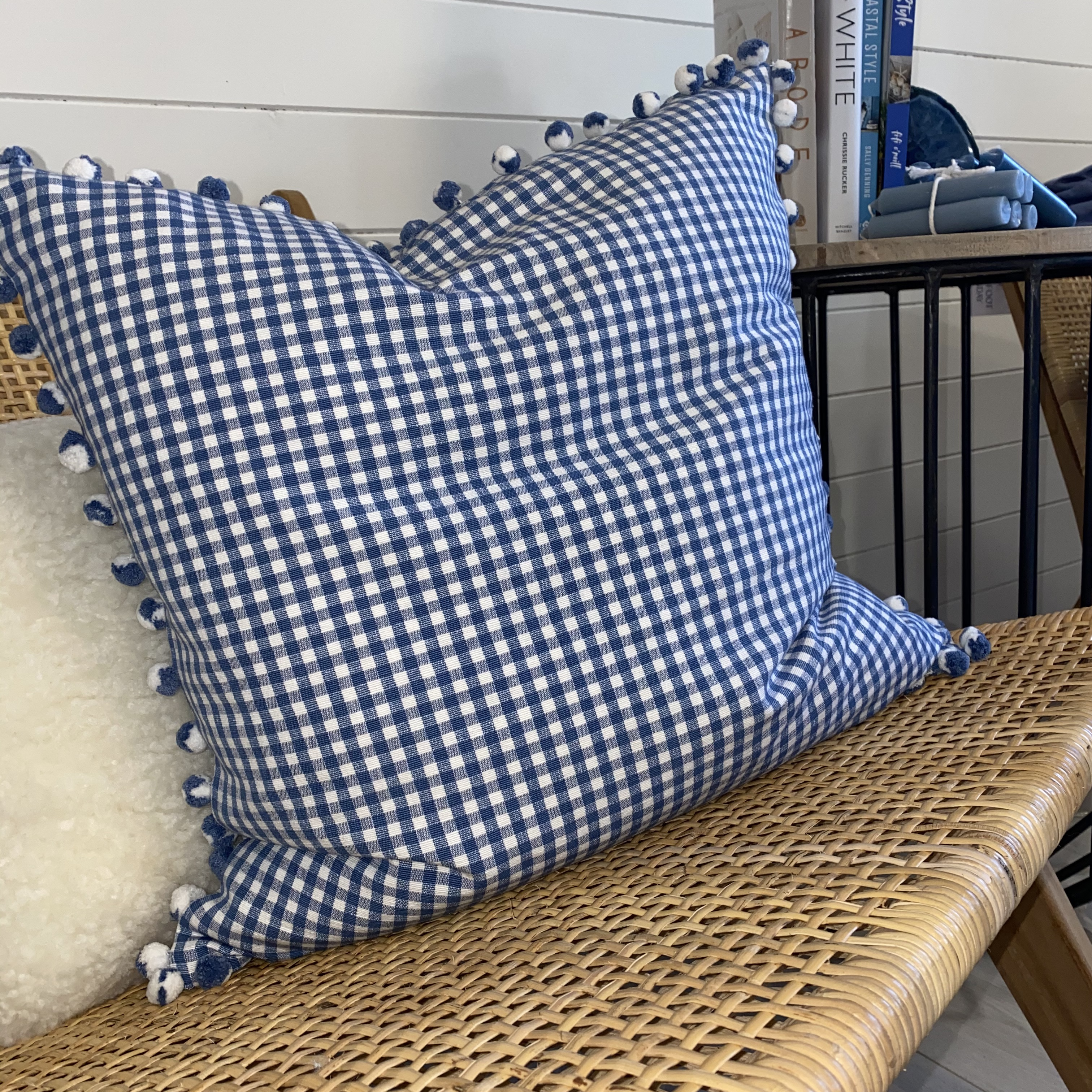 Blue Check Cushion with Pom Poms