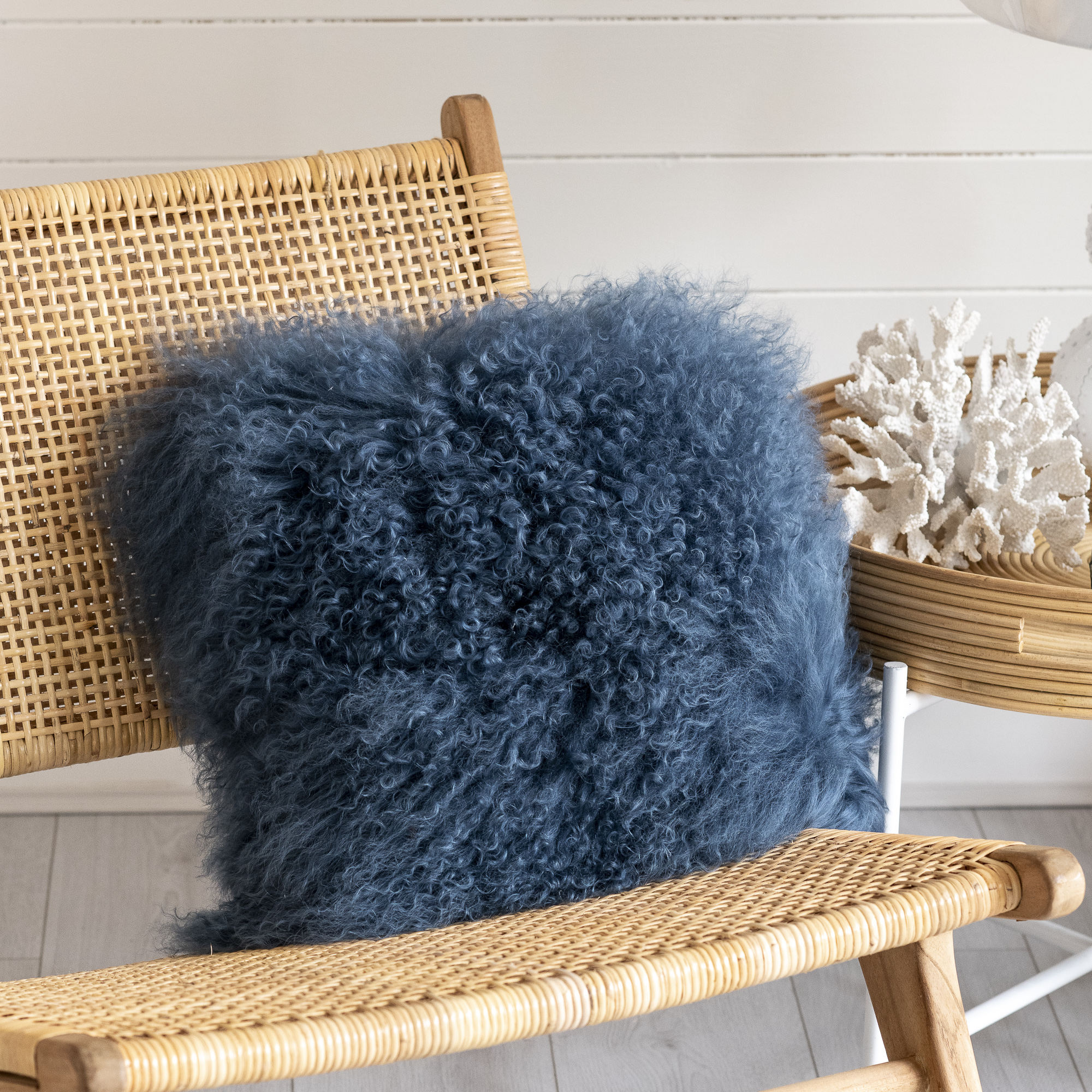 Blue Fluffy Cushion