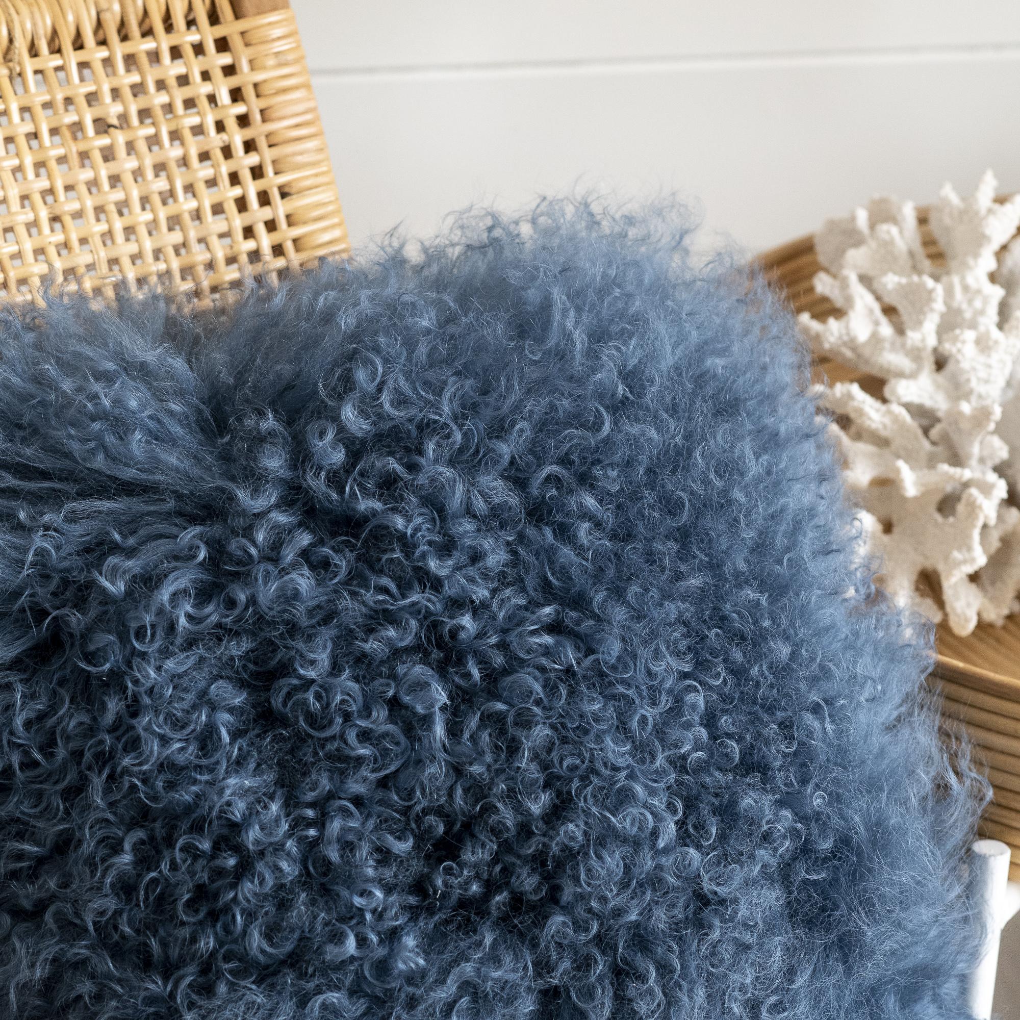 Blue Fluffy Cushion