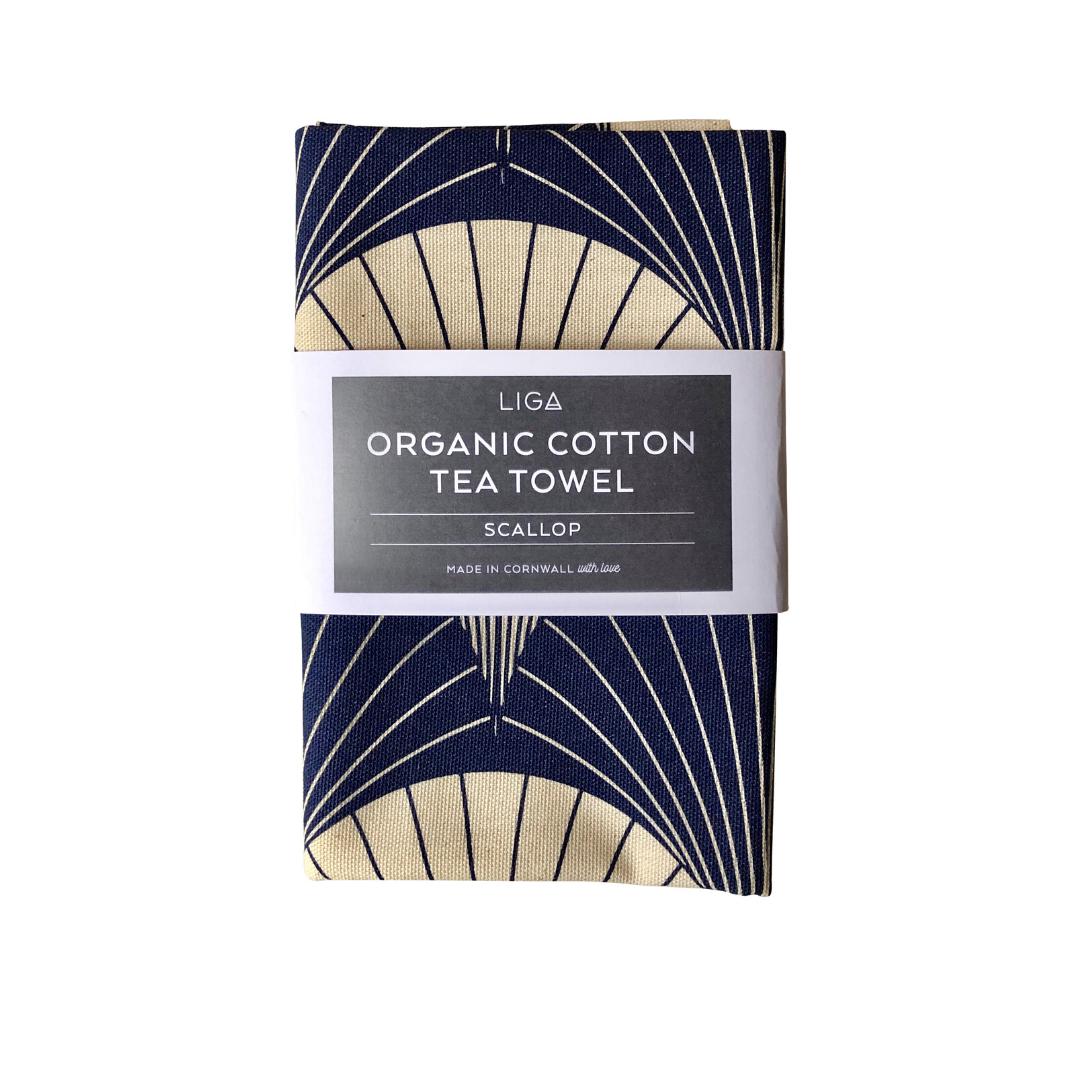 Navy Scallop Tea Towel in Organic Cotton