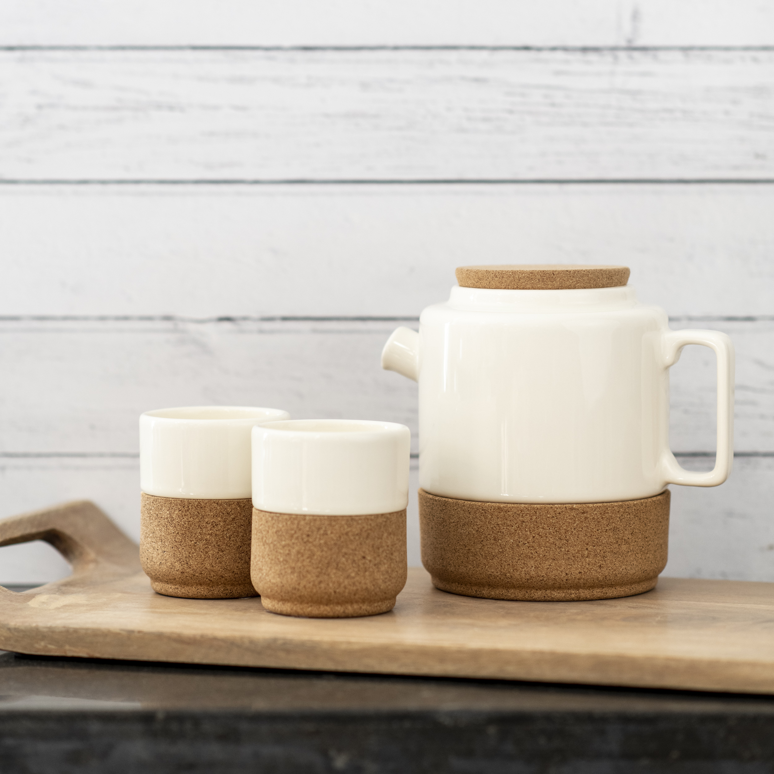Earthenware And Cork Tea Pot- Cream