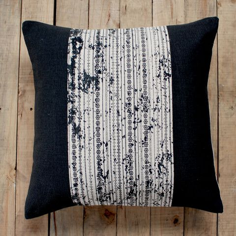 Black Doodle Stripe Cushion