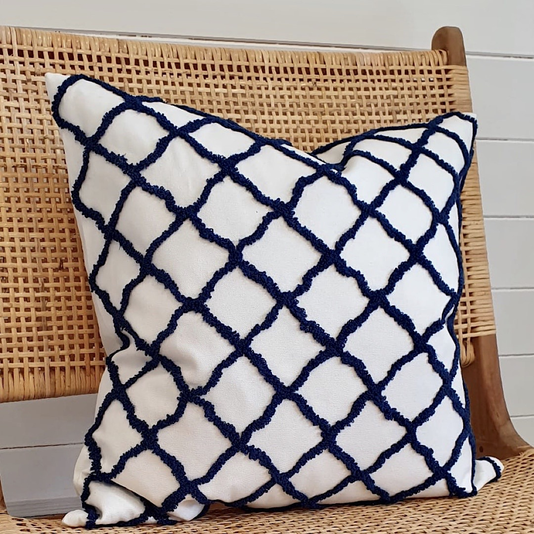 Blue and White Geometric Cushion