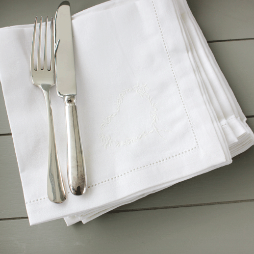 Napkin: Embroidered White Cotton