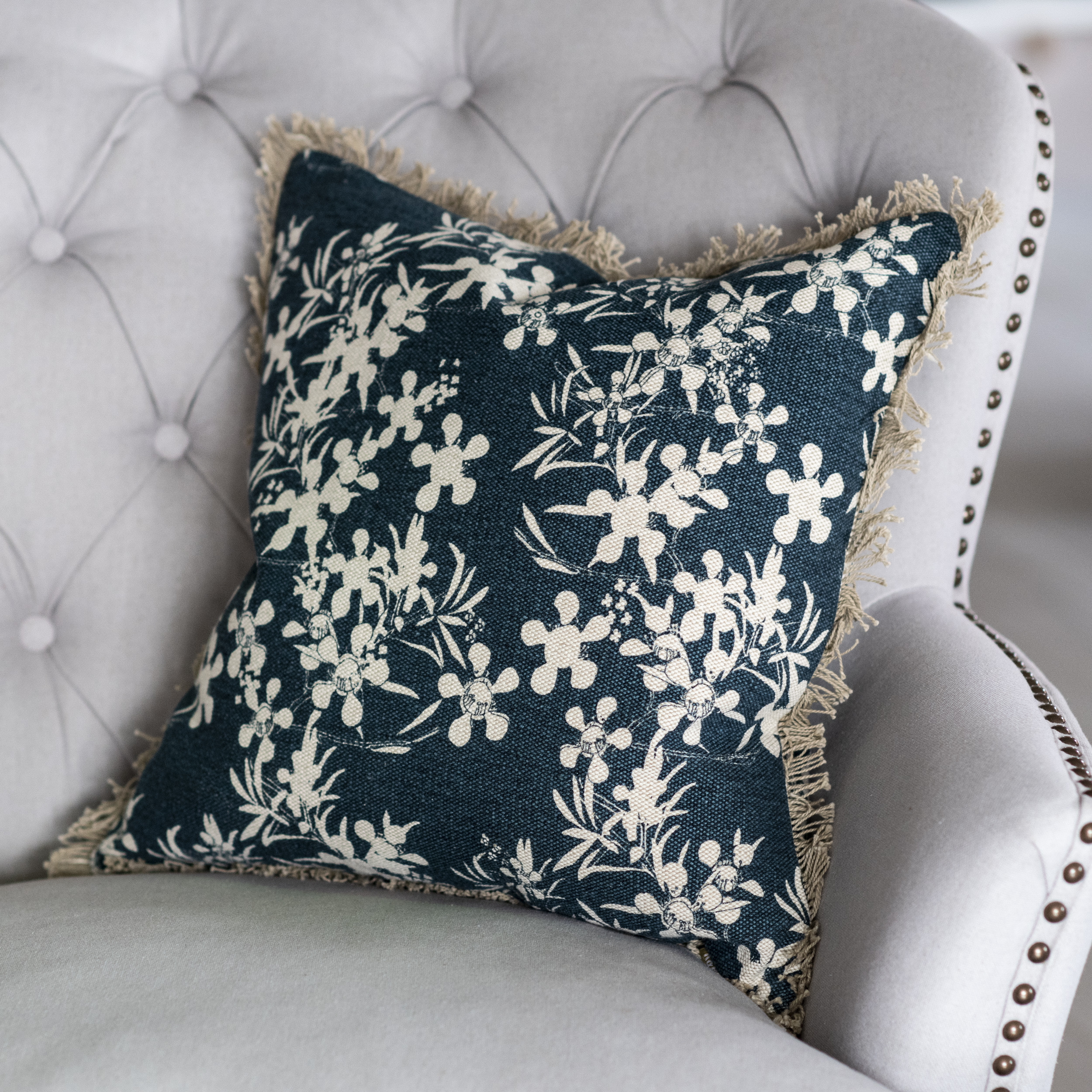 Blue Myrtle Print Cushion