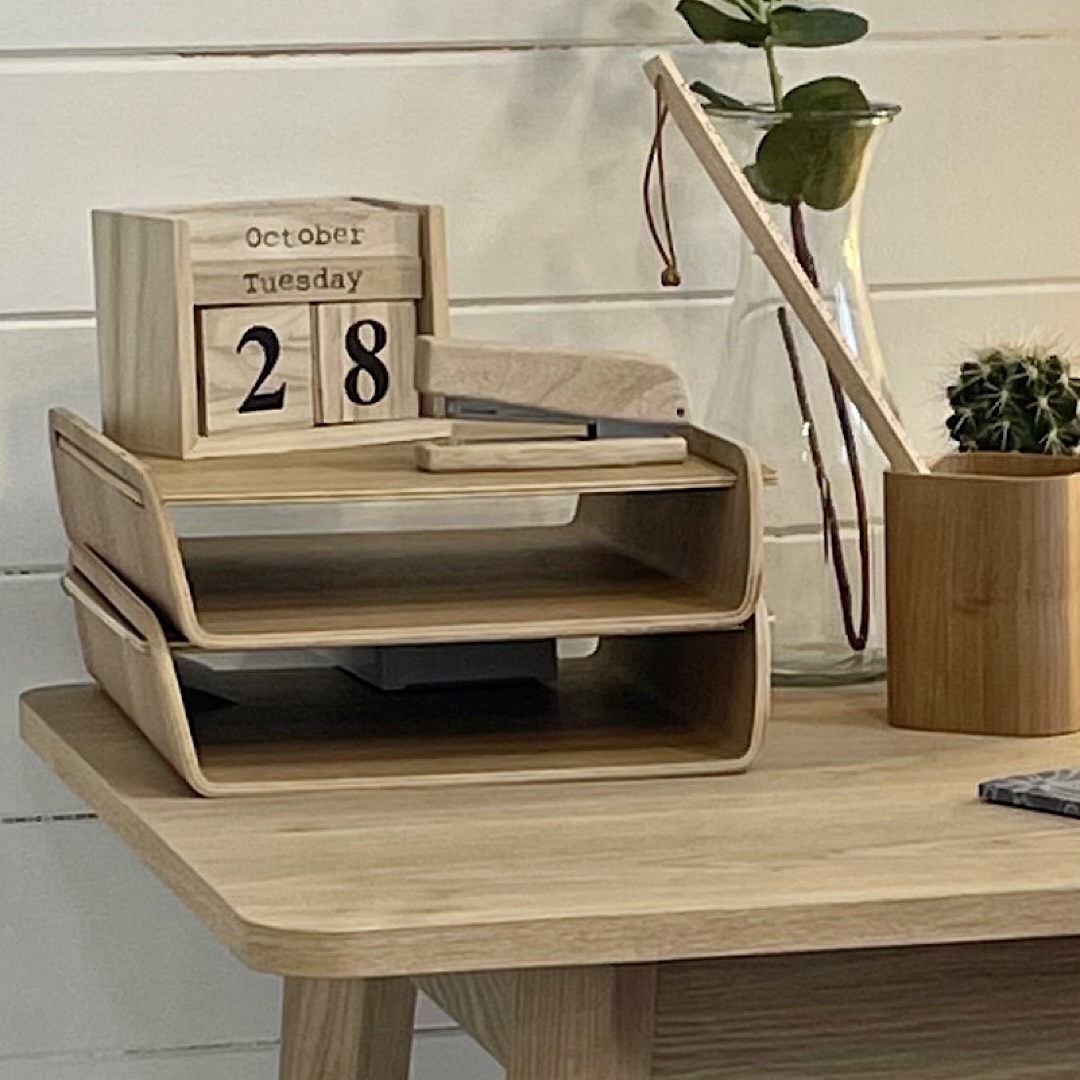 Wooden Stacking Desk Organiser (Single Tray)