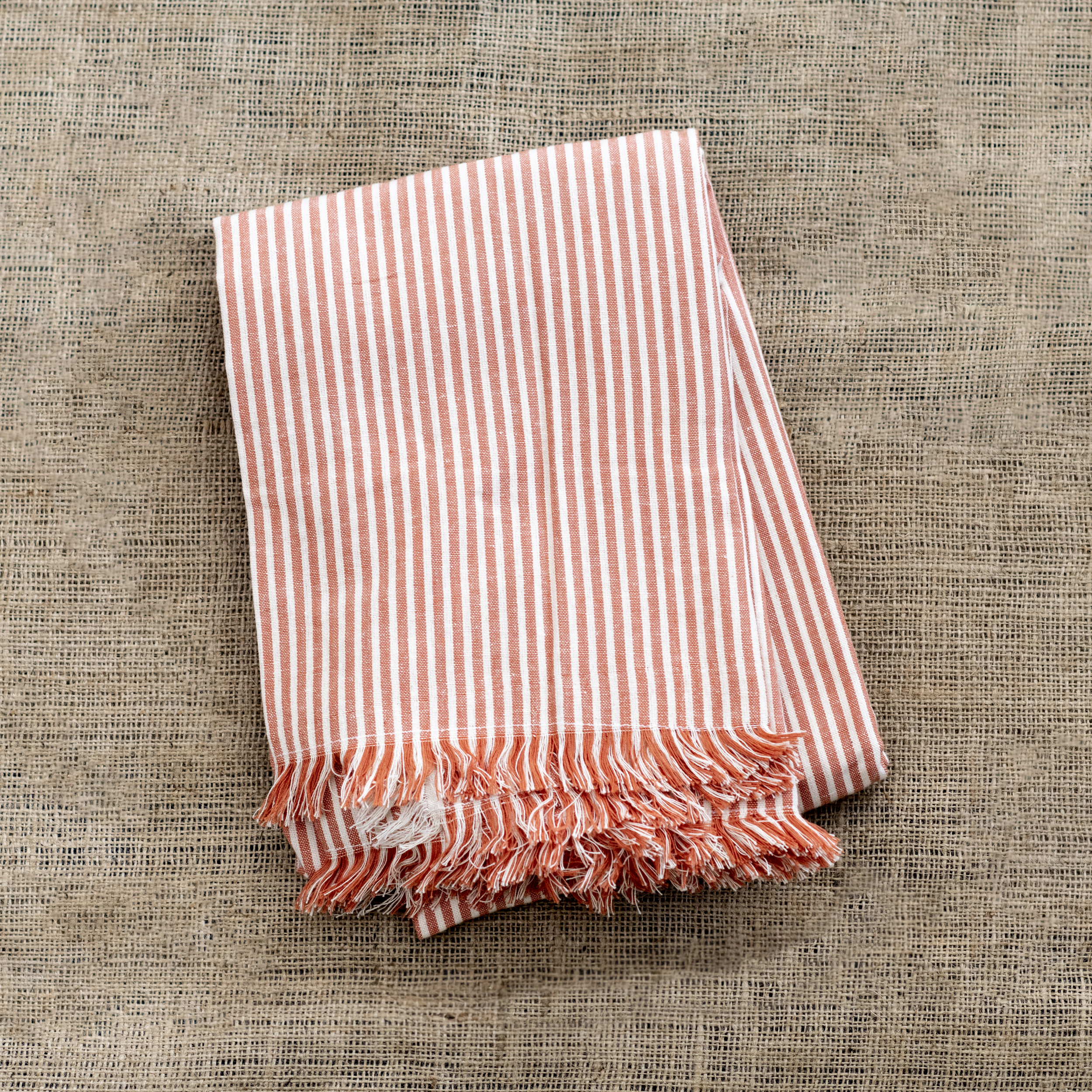 Terracotta Striped Tablecloth