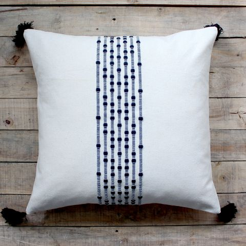 Black Embroidery Stripe Cushion
