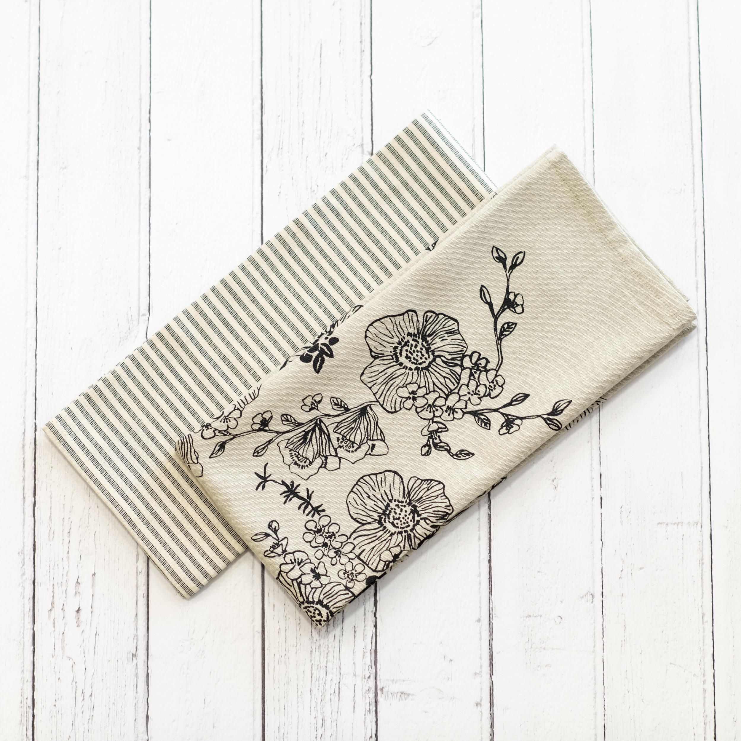 Charcoal Rose Tea Towel Pack