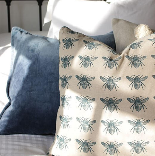 Blue Honey Bee Cushion