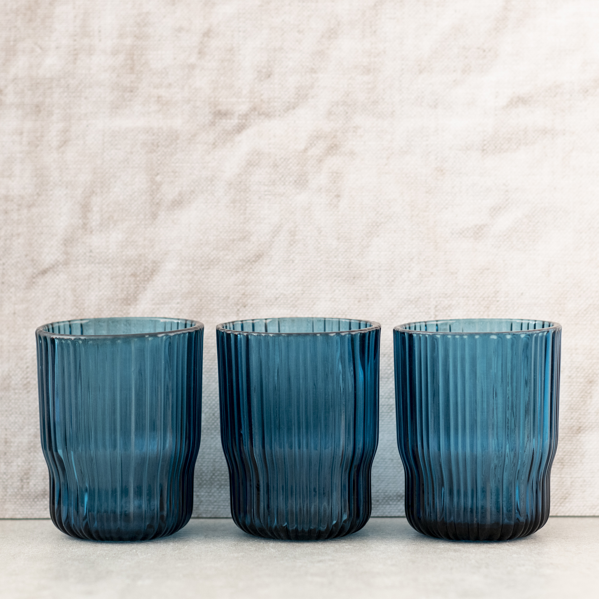 Blue, Ribbed Glass