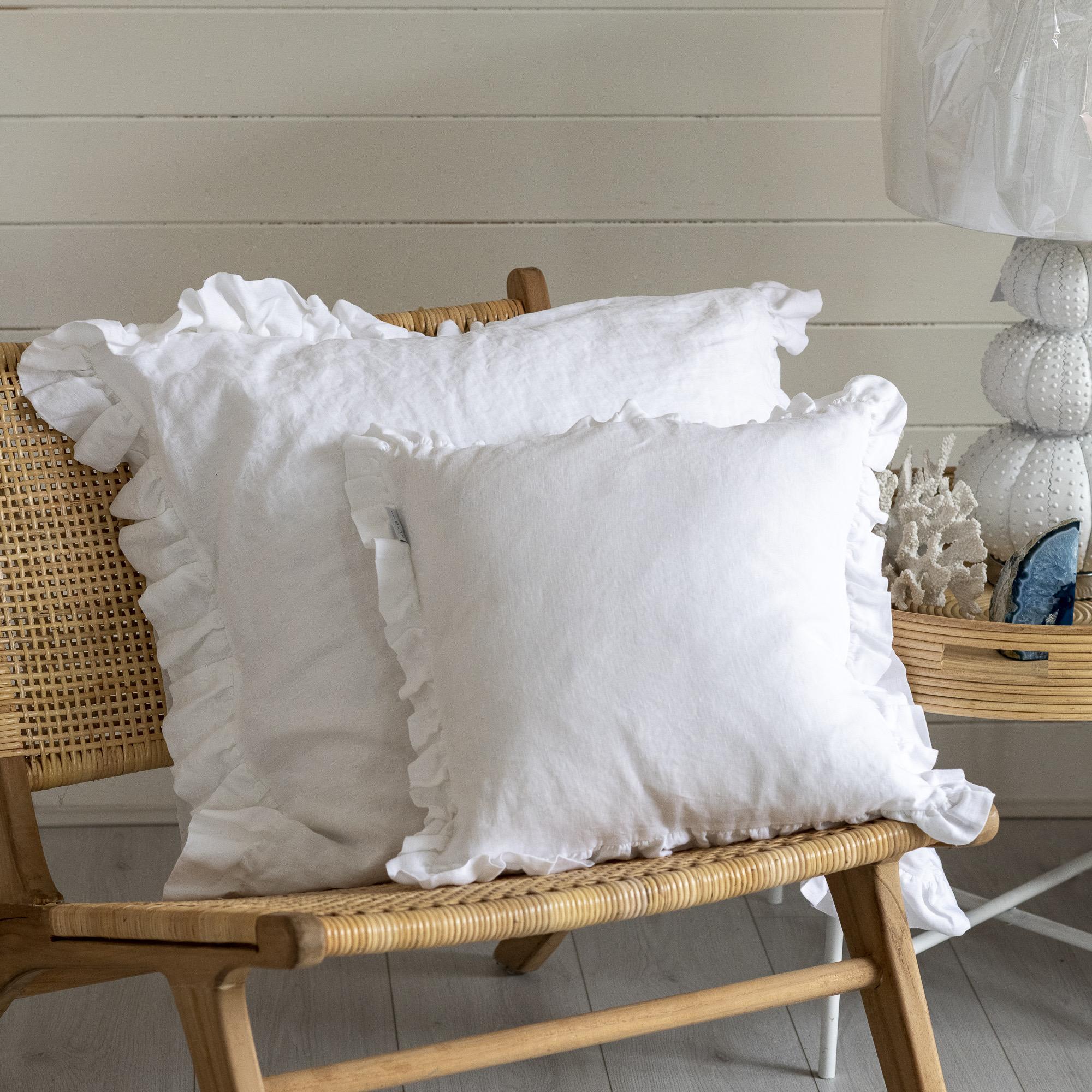 Large White Linen Ruffle Cushion