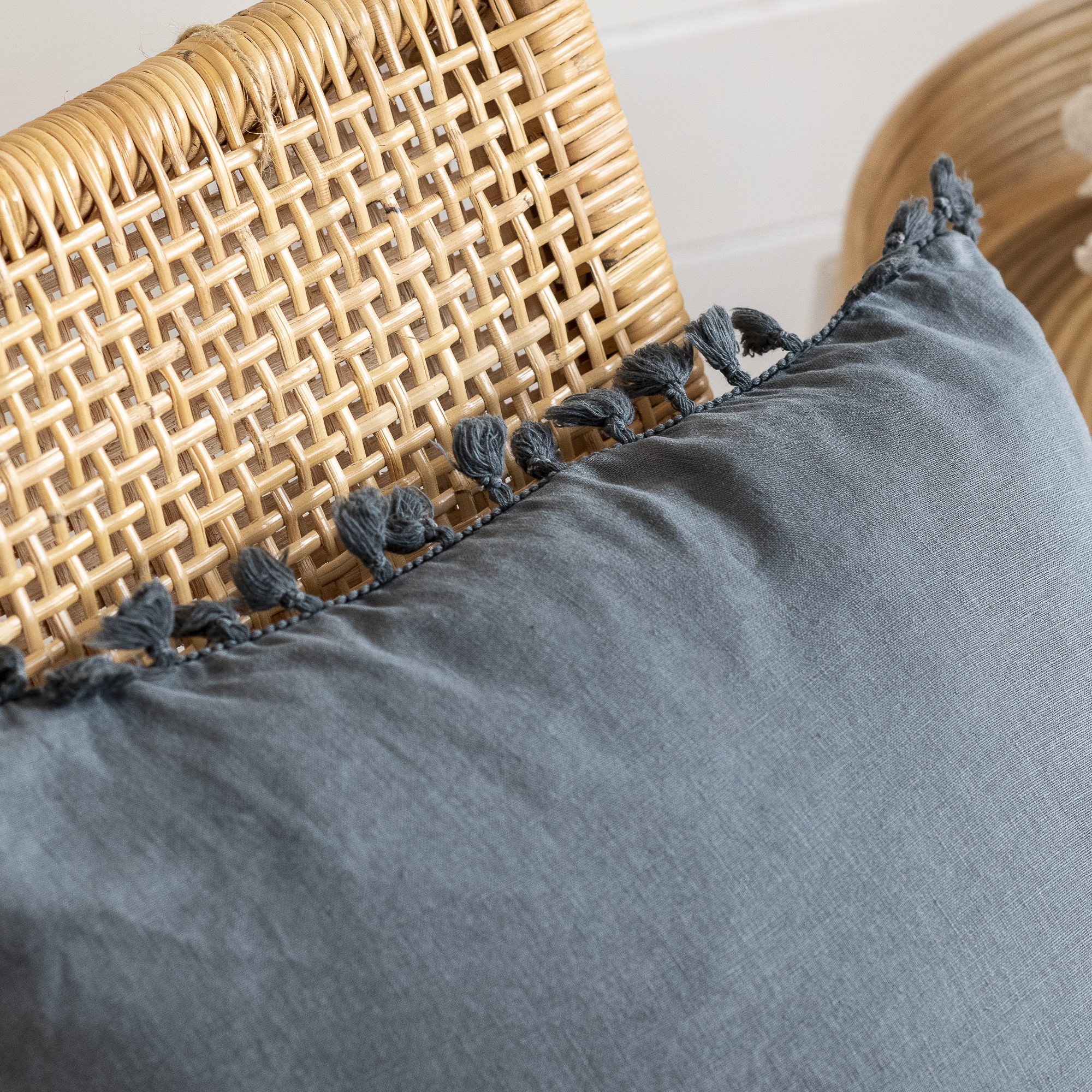 Blue Storm Tassel Cushion