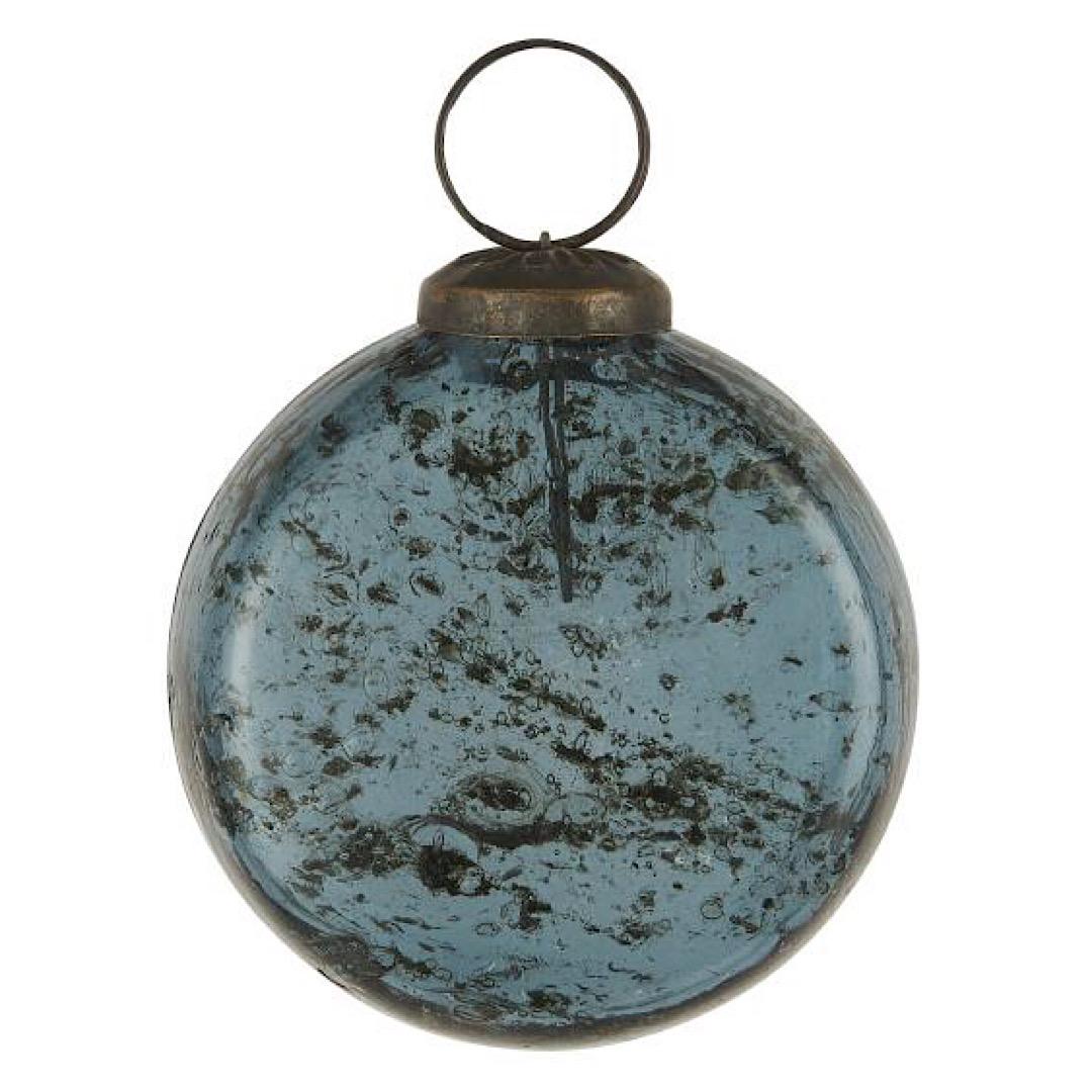 Glass Blue Flat Bauble