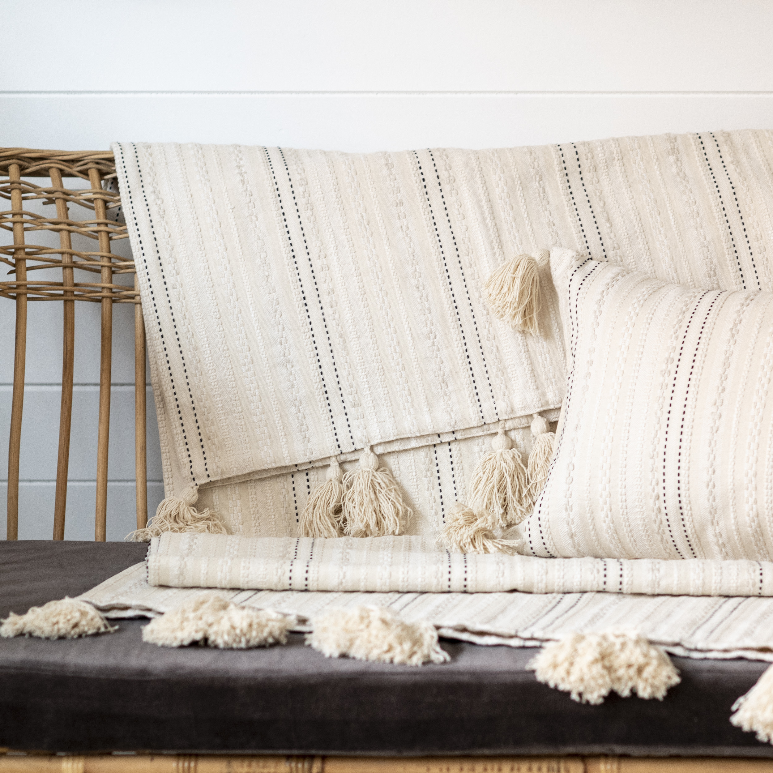 Cream Striped Tassel Throw