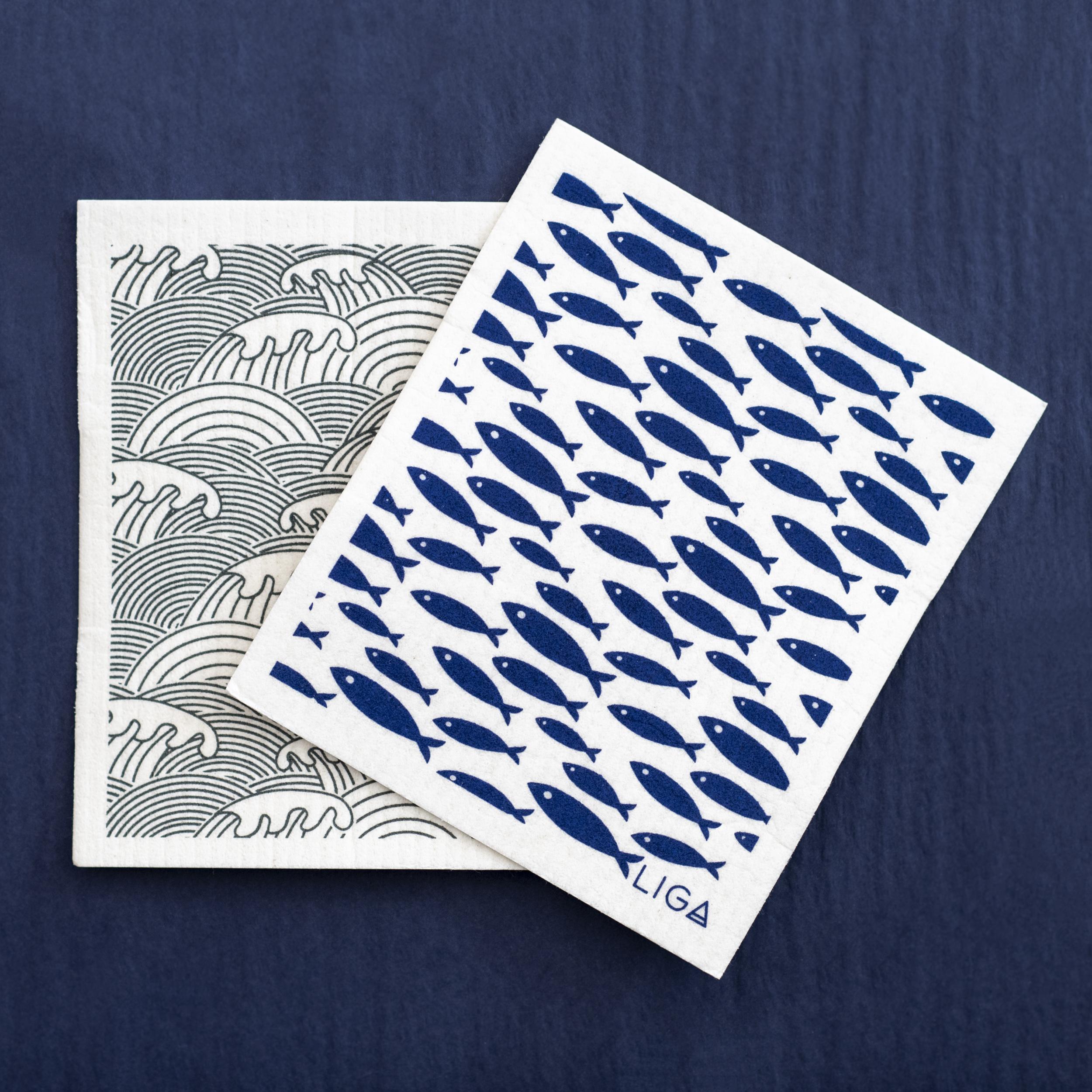 Eco Dishcloths - Fish and Wave