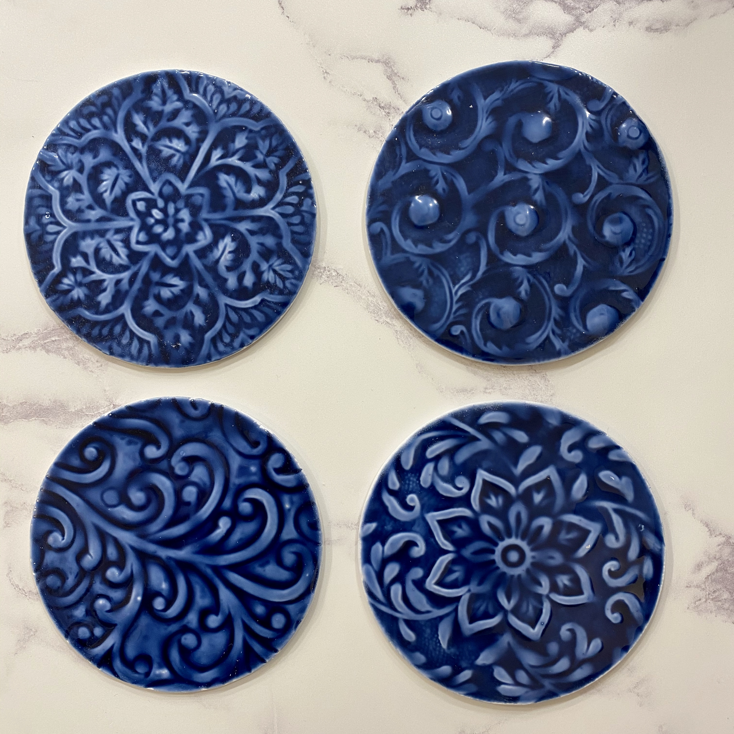 Coasters - Blue Patterned Aluminium Set of Four