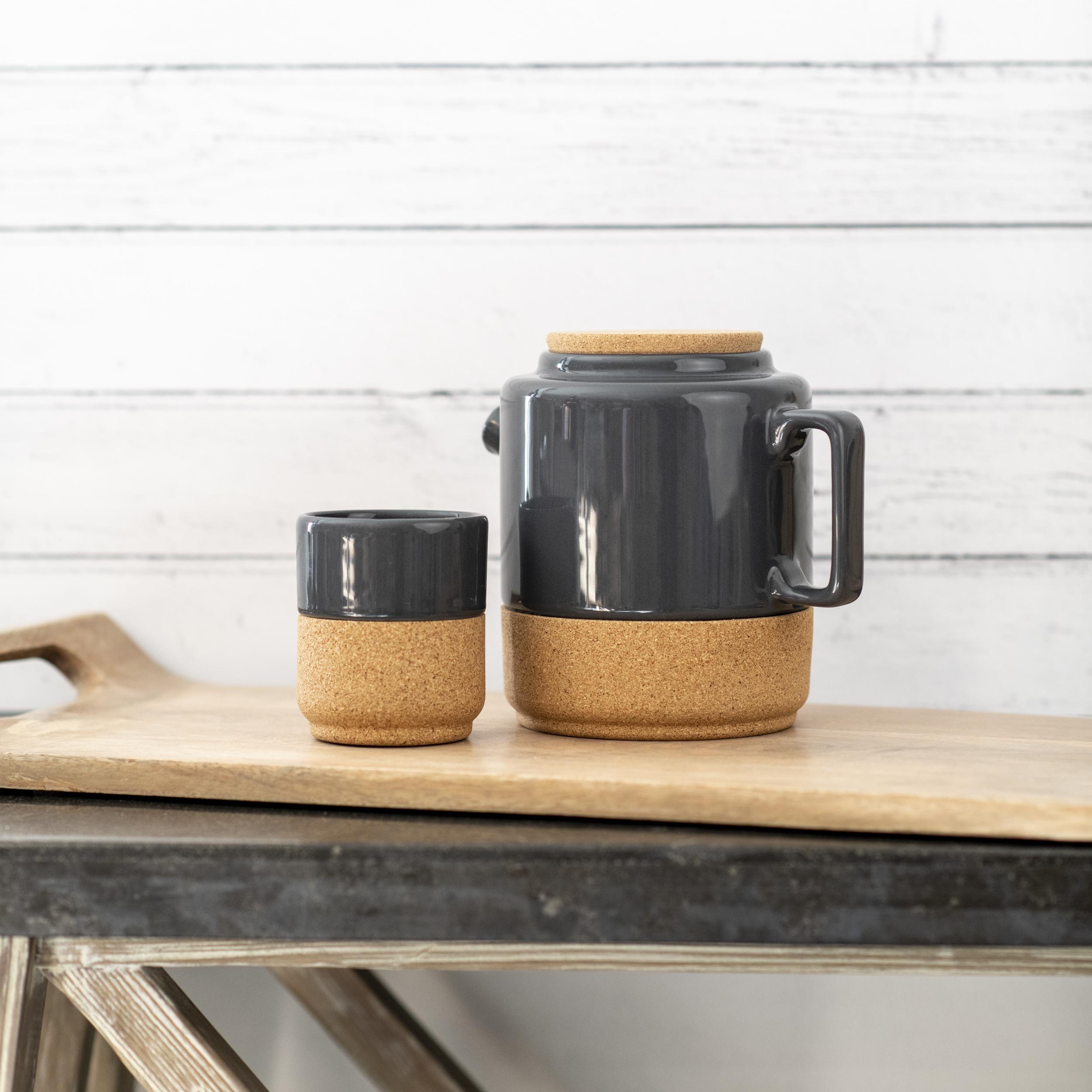 Earthenware And Cork Tea Pot- Storm