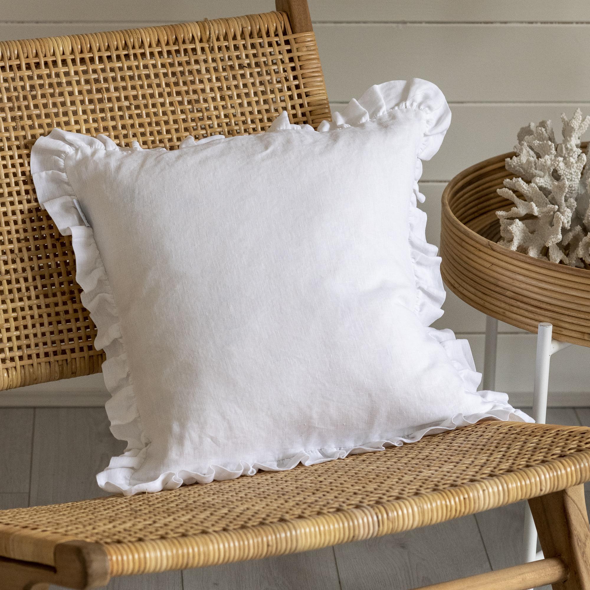 White Ruffle Cushion - Small