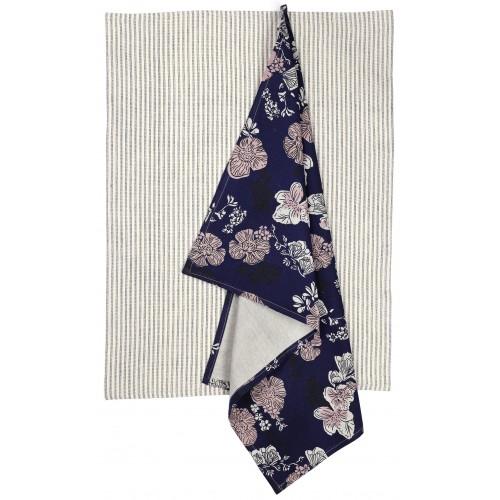 Indigo Rose Tea Towel Pair