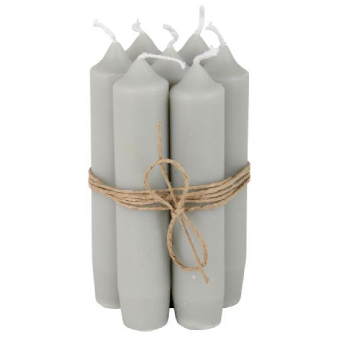 Small Light Grey Dinner Candle