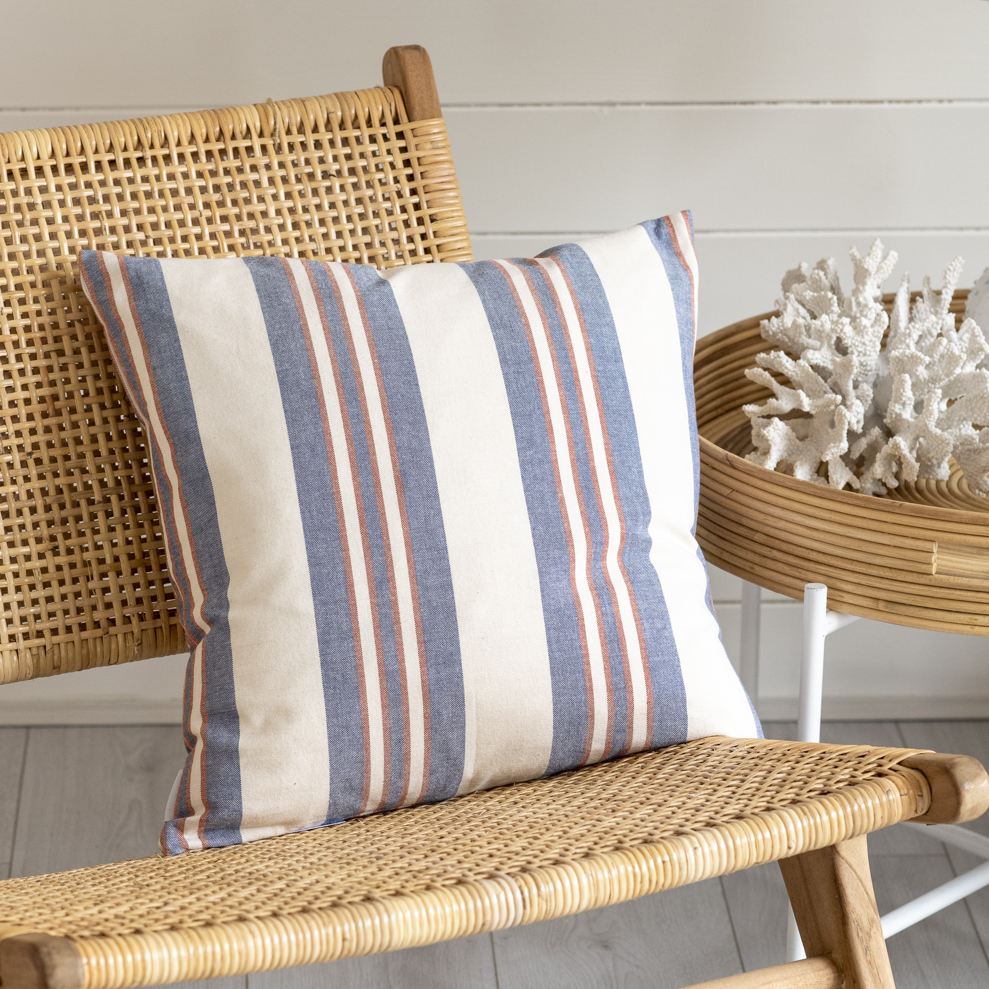 Blue and Coral Striped Cushion
