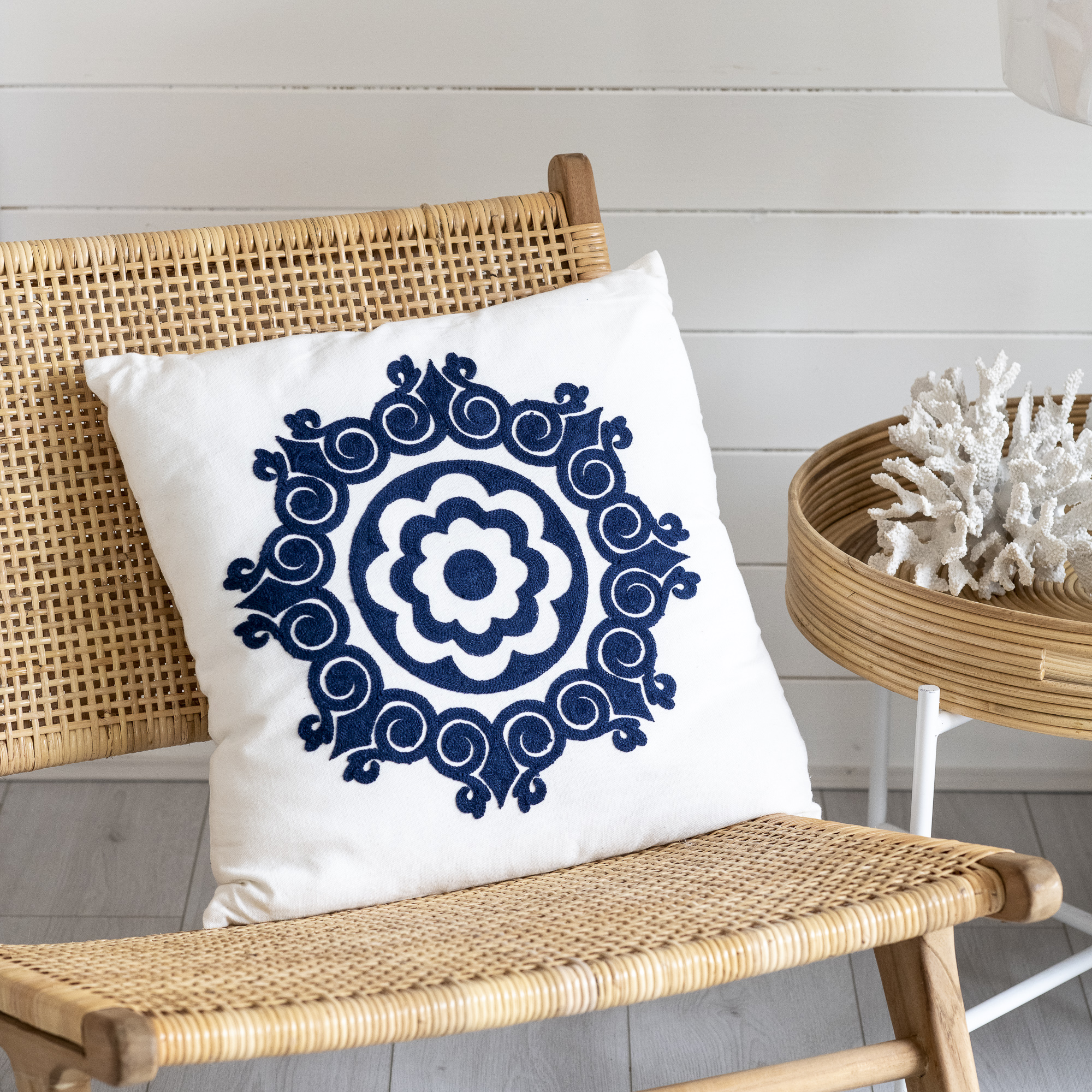 Blue Folksy Cushion